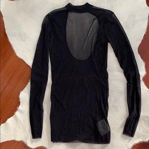 Free People Intimately Sheer Black Blouse (L) NWOT